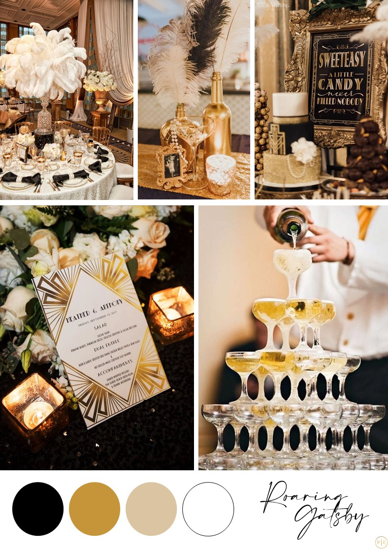 mariage gatsby années folles or noir blanc champagne