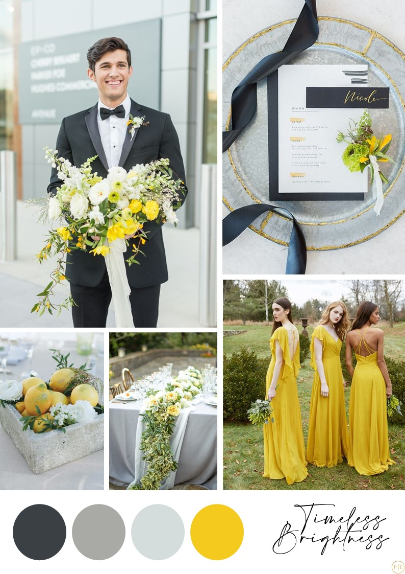 mariage jaune gris idée déco